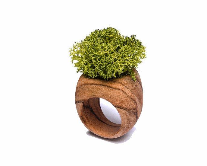 un anello in legno con un disegno di un vaso di fiori