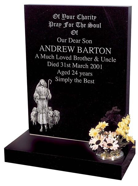 andrew barton headstone with etched shepherd