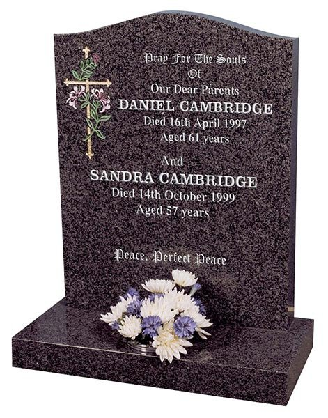 daniel cambridge headstone with colour infilled floral carving