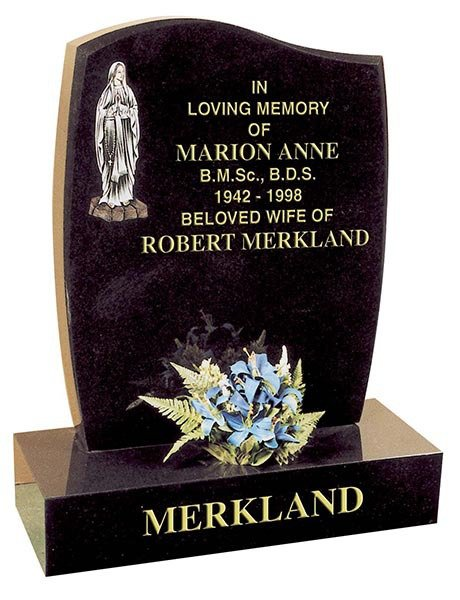 marion anne and robert mekland curving sides headstone with lower carving