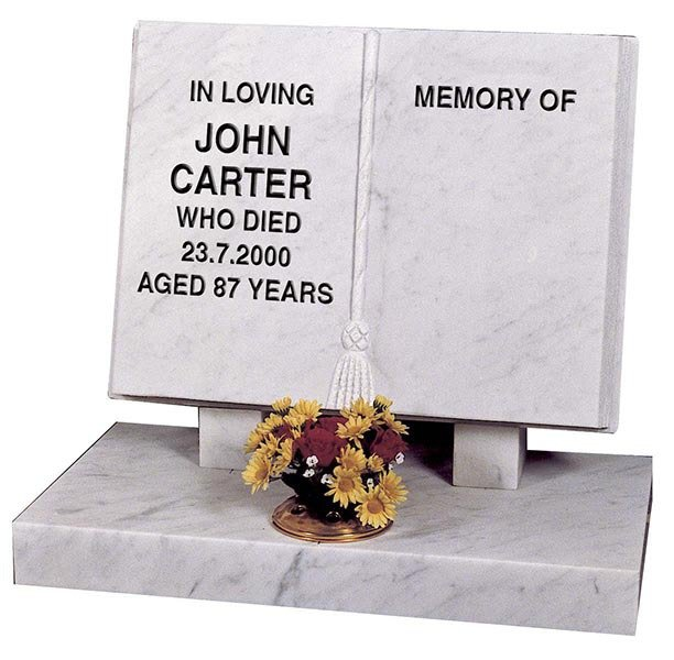 John Carter white open book memorial