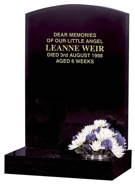 leanne weir plain polished black memorial