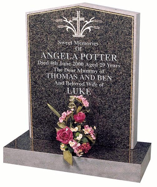 angela potter headstone with etched floral spray