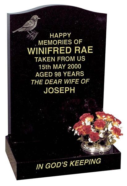 winifred rae headstone with simple typeface