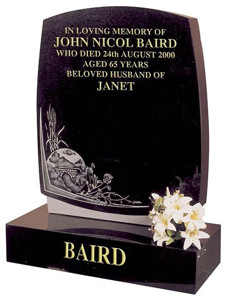 janet baird curved side headstone