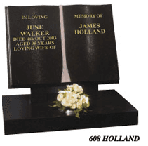 twin book pages style headstone