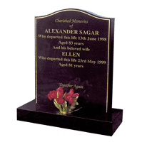 headstone with gilded border