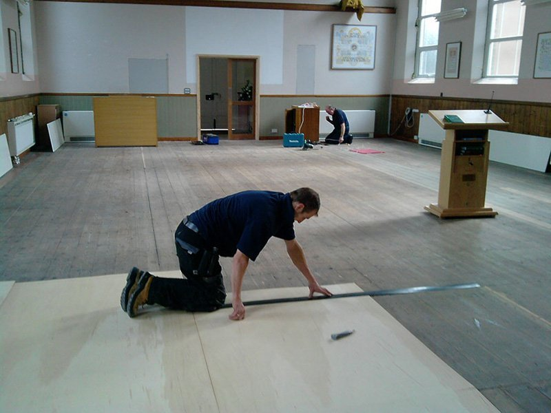 floor being installed