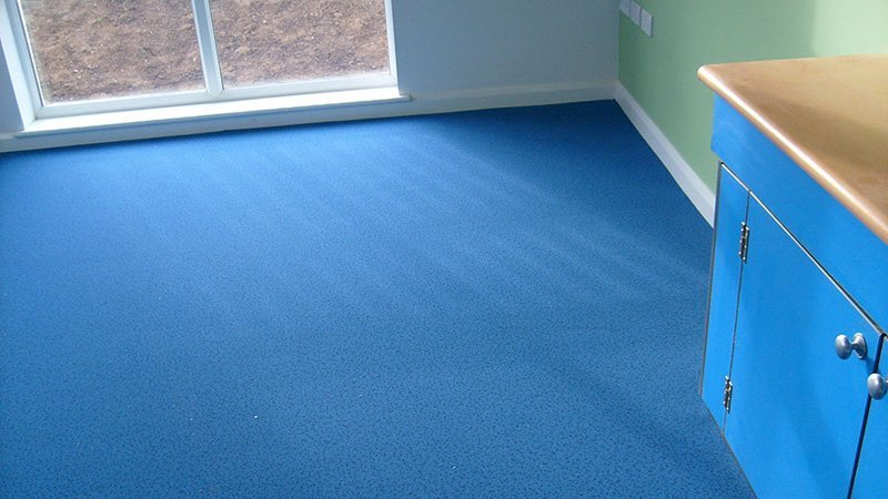 blue carpet on floor