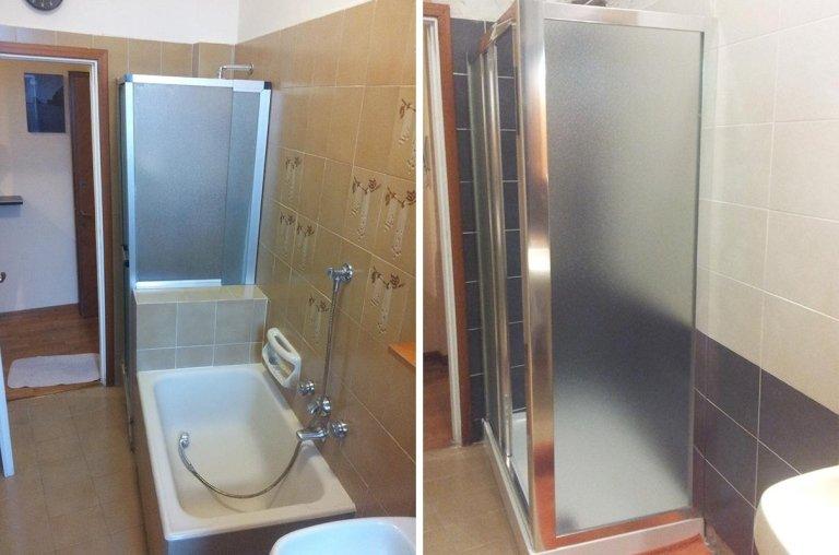 Trasformazione da vasca da bagno in doccia