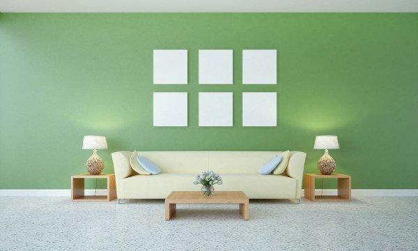 soggiorno moderno con parete verde