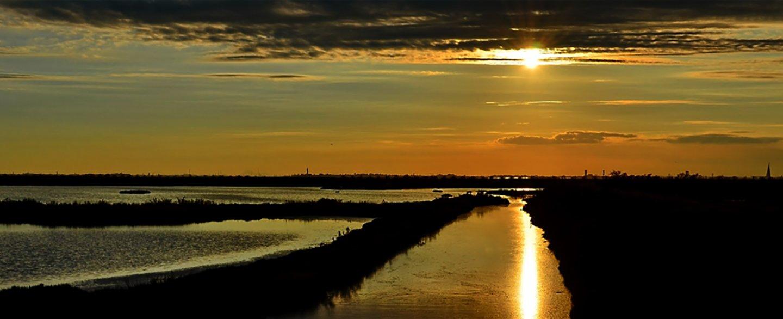 tramonto con vista sulla laguna di Venezia