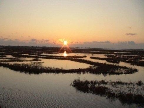 tramonto sulle lagune venete