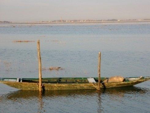 Barca in una laguna veneta