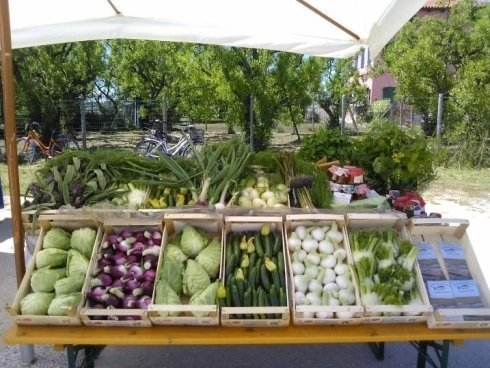 Bancale di verdura fresca