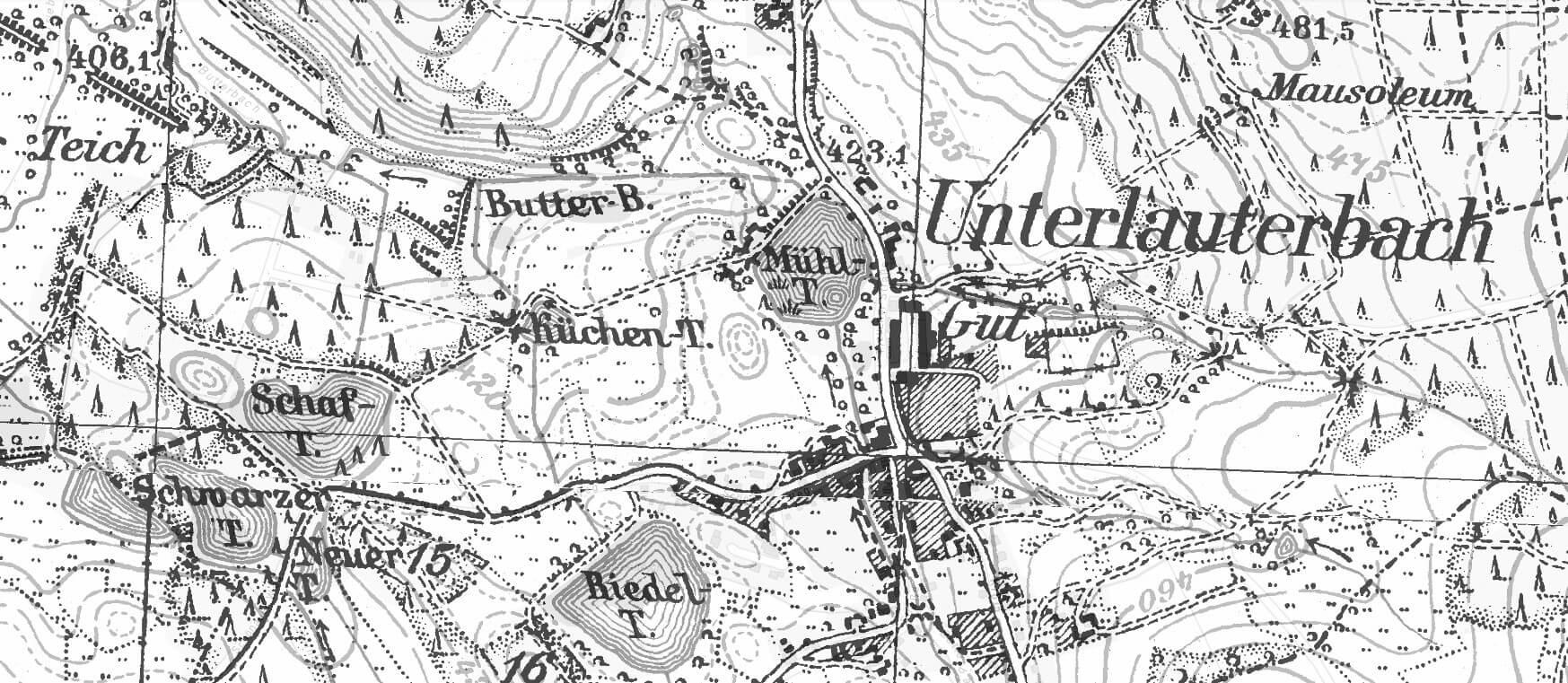 Rittergut Adlershof zu Oberlauterbach - Landkarte © Geoportal Sachsen