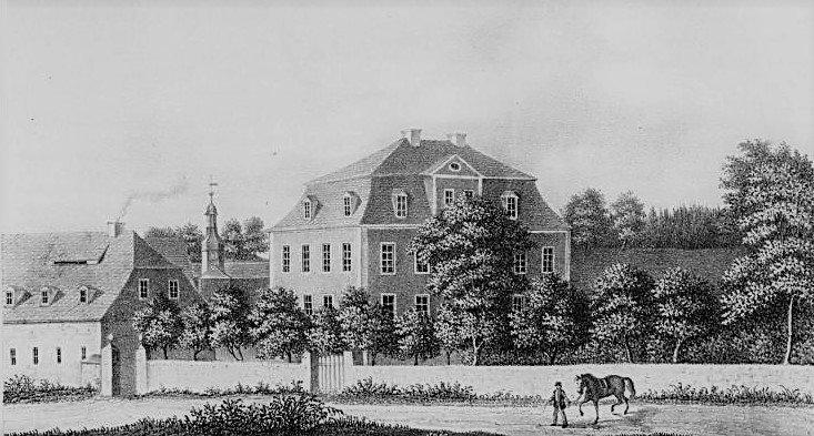 Abb. 2 Das Herrenhaus mit Försterei und Türmchen des Einfahrttores sowie mit ummauerter Begrenzung des Gutsparkes  ©nach Poenicke 1856, Quelle - Stadtarchiv Plauen