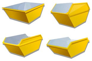 Four different sized yellow skips