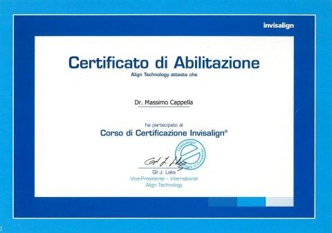 certificato abilitazione Invisalign