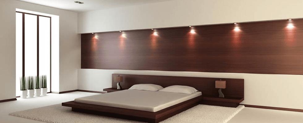 camera da letto con sistema di illuminazione moderno