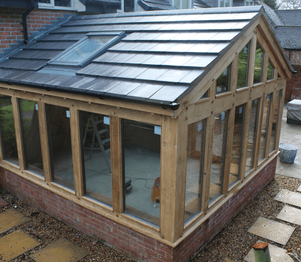 Wooden conservatory in progress