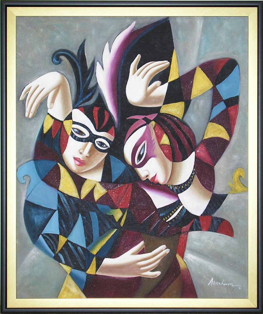 hall of frame cubist oil painting