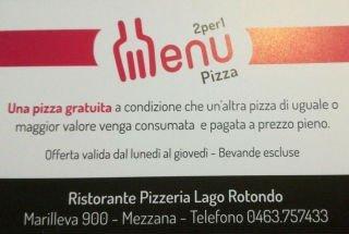 promozione menù 2x1 pizzeria