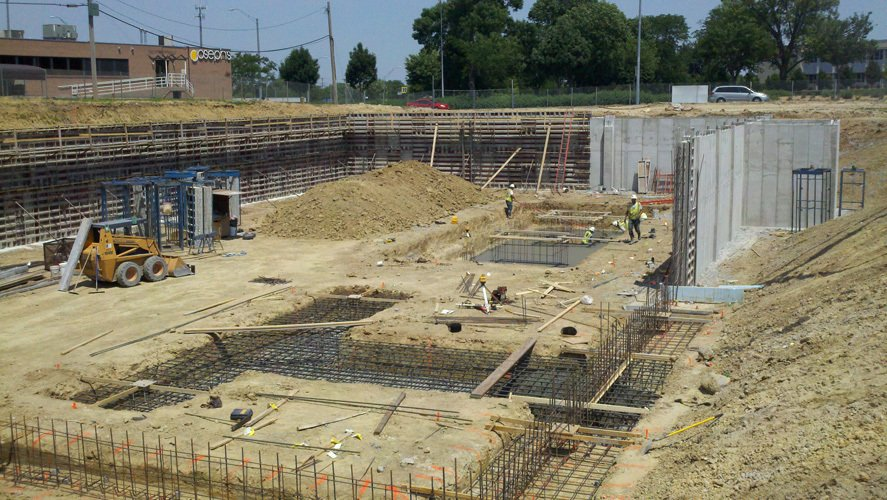Commercial foundation for office building in Lincoln, NE