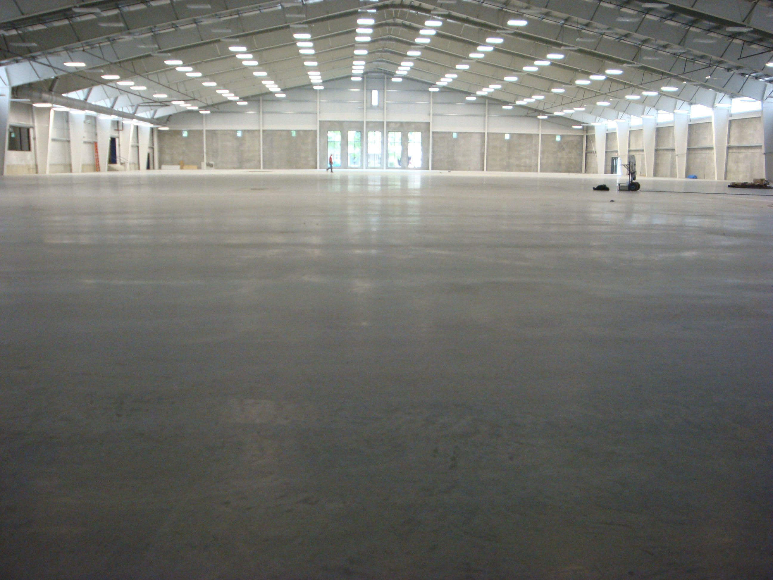 View of the concrete floor at the fieldhouse in Lincoln, NE