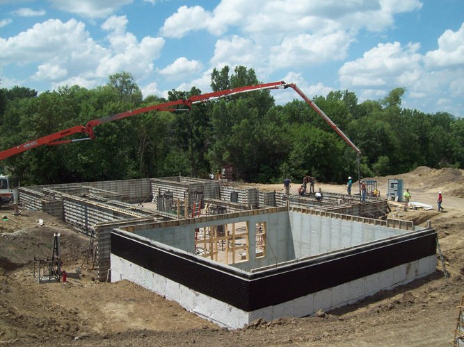 Residential building foundation with sports court in Lincoln, NE