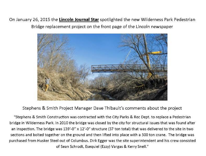 The wilderness park pedestrian bridge replacement project in Lincoln, NE