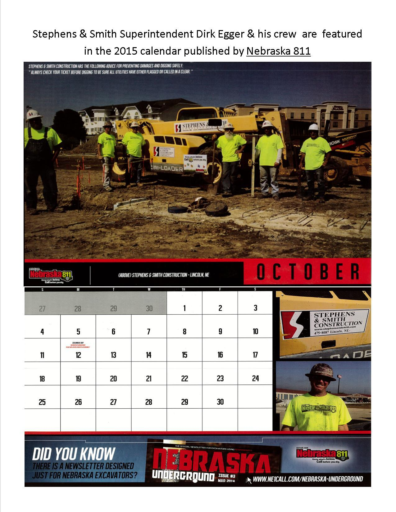2015 calendar publication in Lincoln, NE