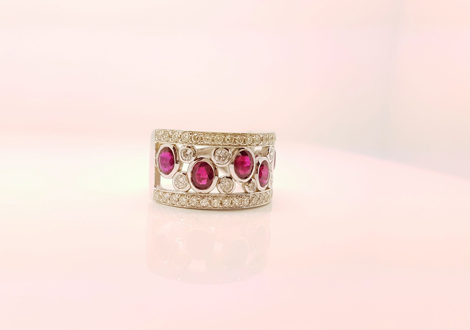 Close up of a ruby and diamond ring