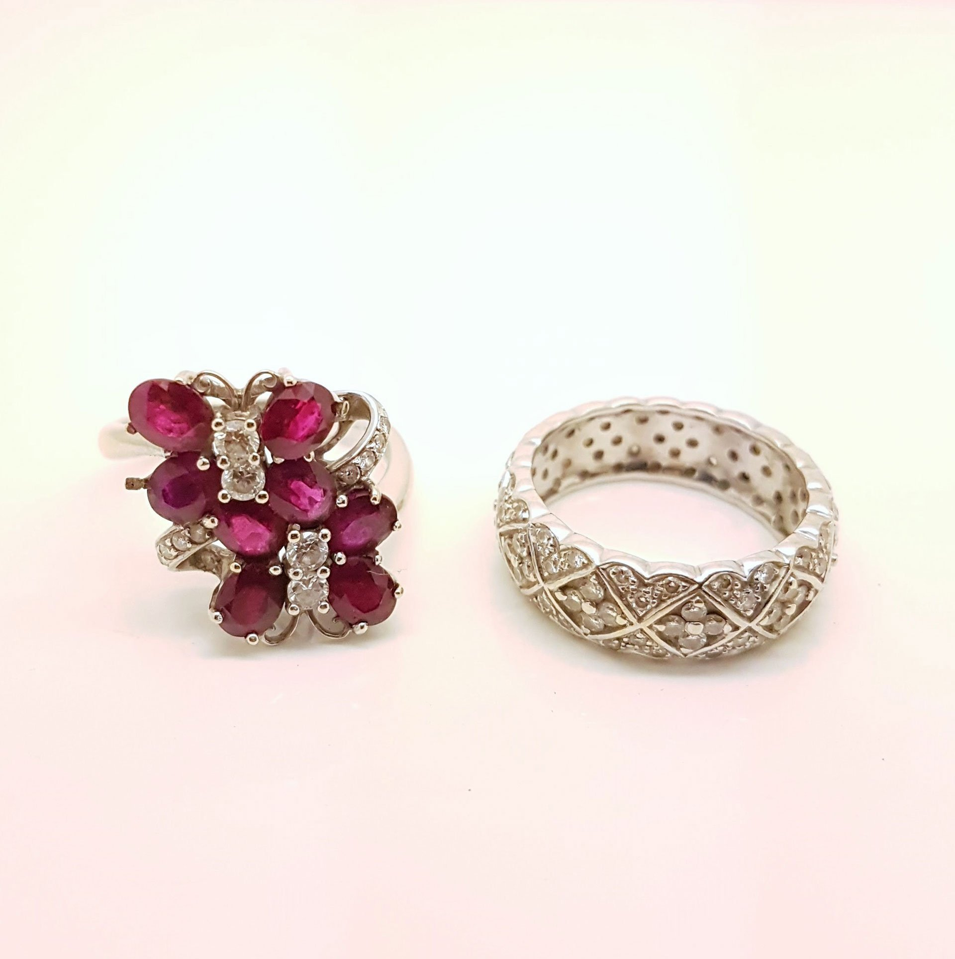 Ruby and diamond earrings with a ring