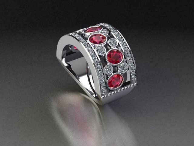 A ruby and diamond ring laid down