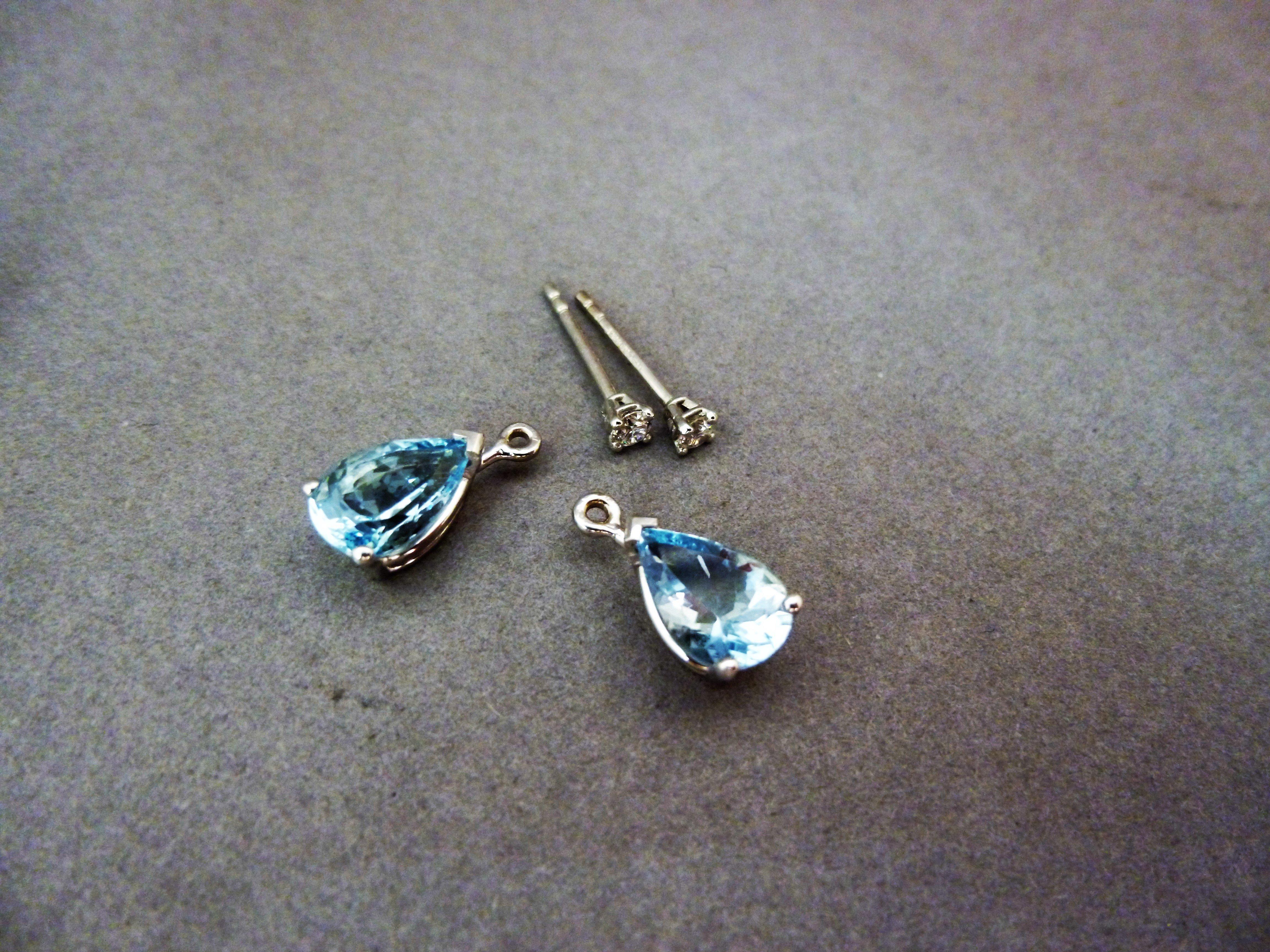 Aqua marine and diamond interchangeable earrings