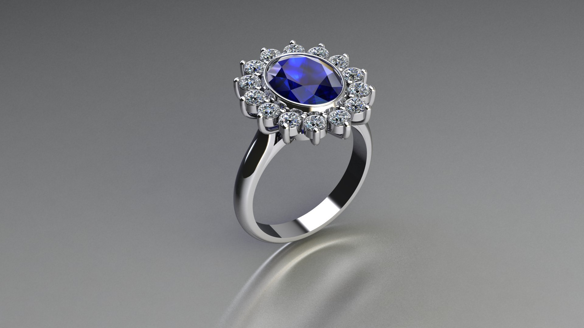A render of a tanzanite and diamond cluster ring standing