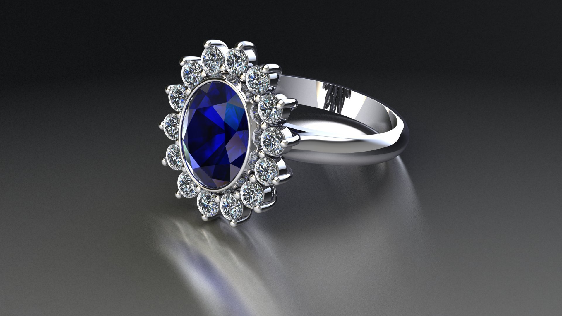 A render of a tanzanite and diamond cluster ring laid down