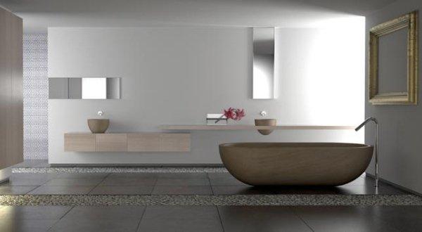 Vasca da bagno rimodellare e pareti nude u foto stock saje