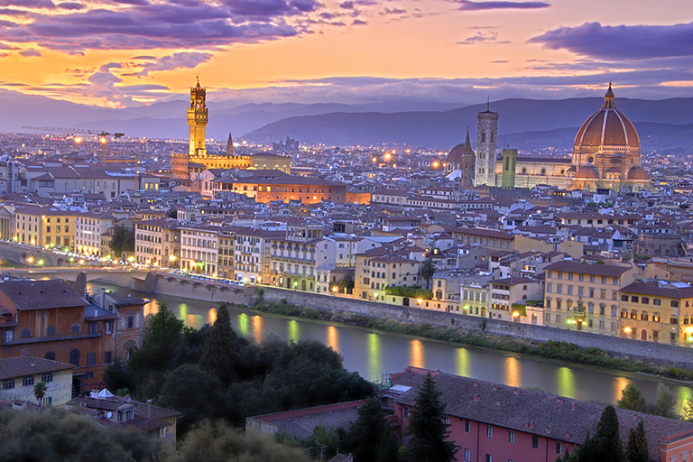 panorama di Firenze al tramonto