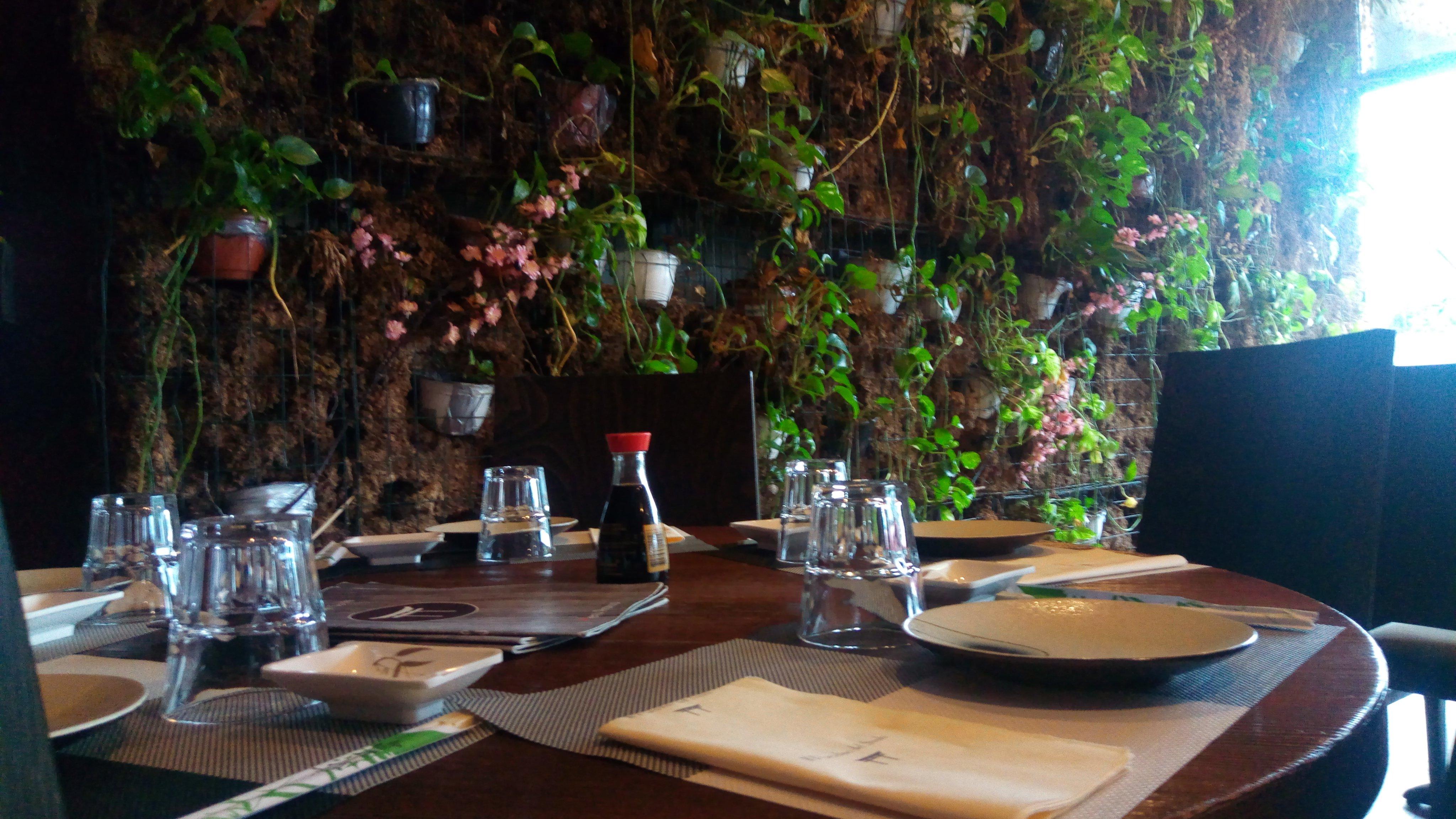 un tavolo apparecchiato all'interno del ristorante e vista di una parete di terra con dei vasi di fiori e piante