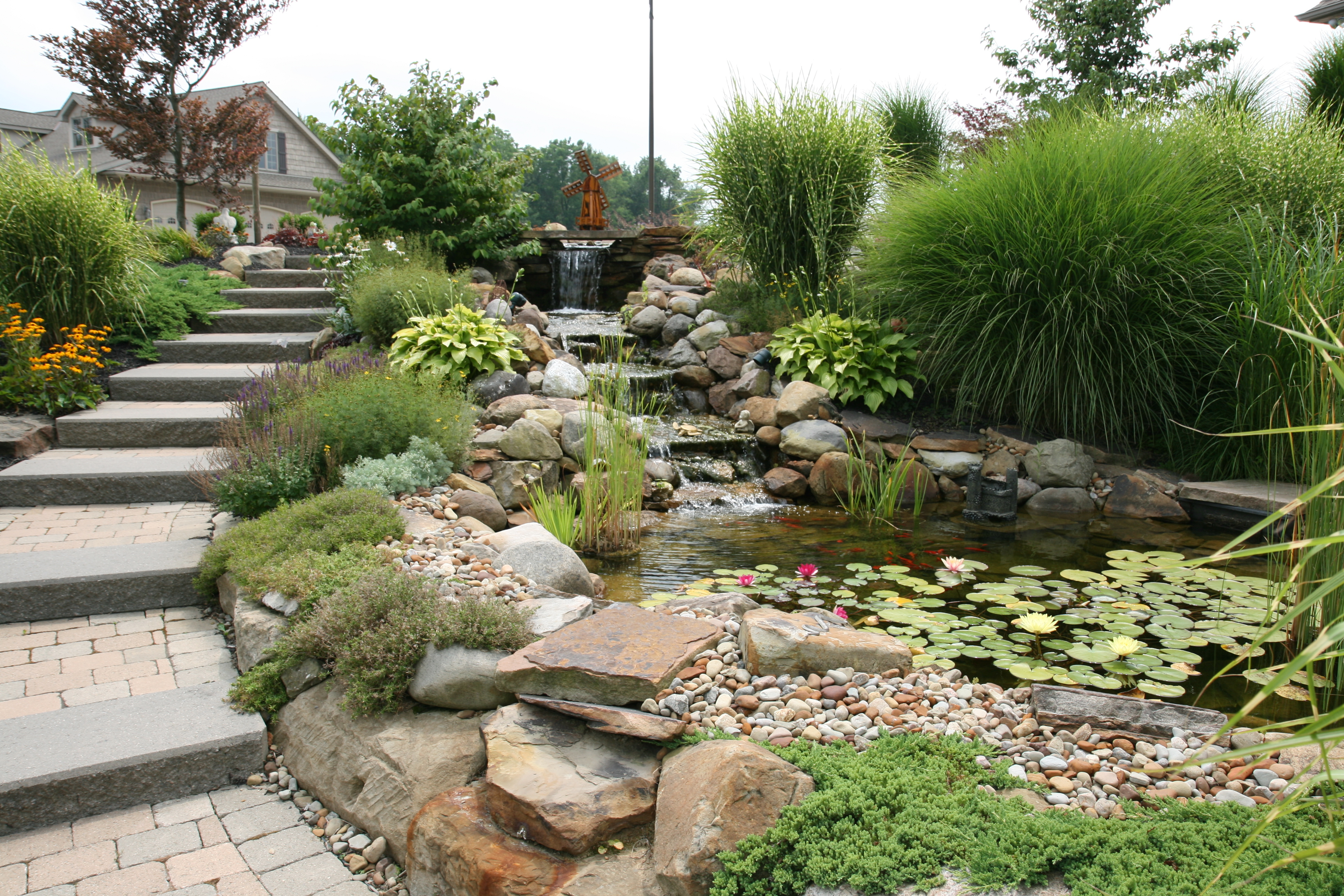 Beautiful landscape created by lawn care professionals in Lorain, OH