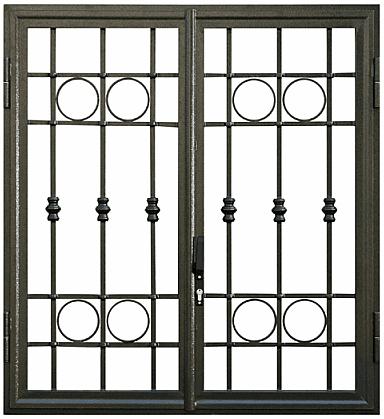 Griglia di finestra di originale design che combina circulos e rectangulos