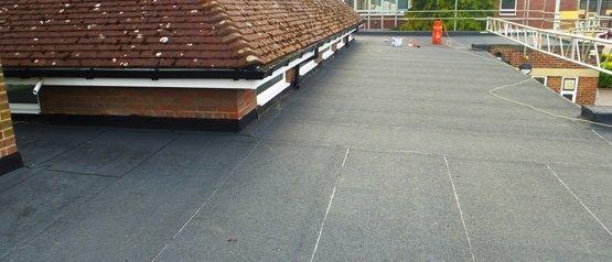 A newly laid felt roof at Knowles Nursery School