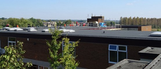 A newly installed flat roof by us at Redborne School