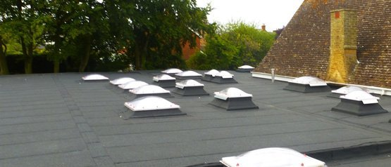 A new flat roof with skylights