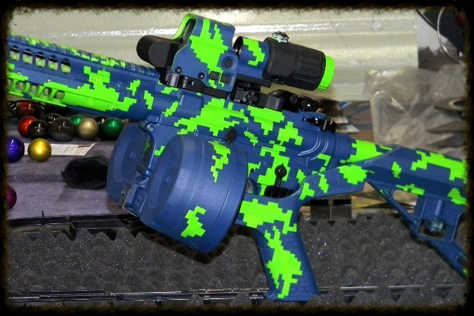 Electric Lime  & Custom Blue Digital Camouflage