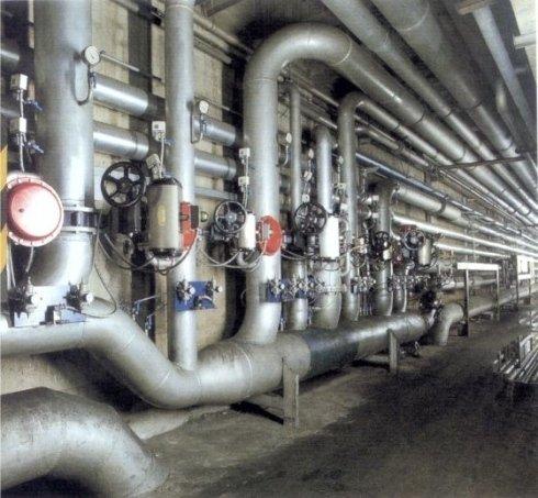 Distribuzione aria compressa comandata da valvole pneumatiche in tele gestione per chiusura ed apertura a richiesta dei reparti