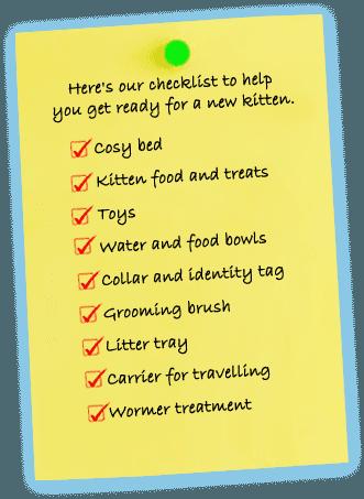 kitten's checklist