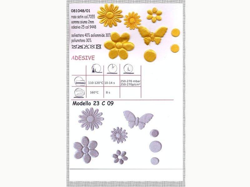 adesivi e forme in tessuto